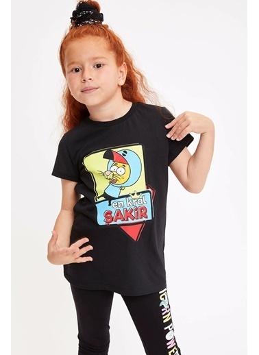 DeFacto Kral Şakir Lisanslı Kısa Kollu Kız Çocuk T-shirt Siyah